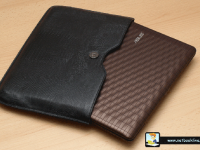 Nice patterned body and the leather case included in the pack