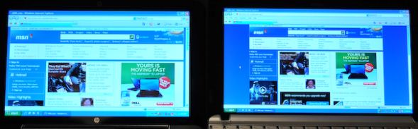 Same webpage on 10 inch displays: 1024x600 px (left) and 1366 x 768 px (right)