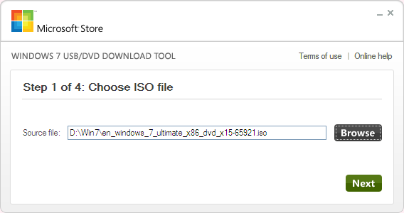 Slect the ISO file