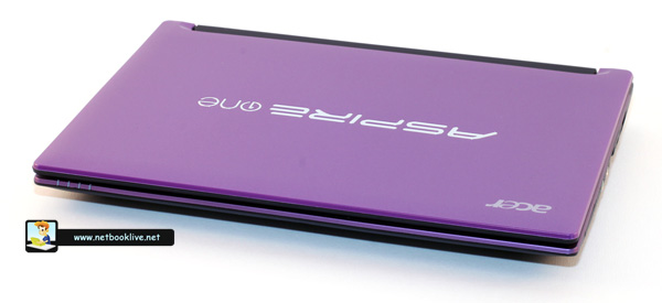 Purple lid cover with a big Aspire One Logo