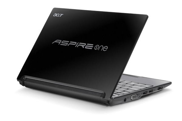 The Acer Aspire One AO522 has a black plastic finish