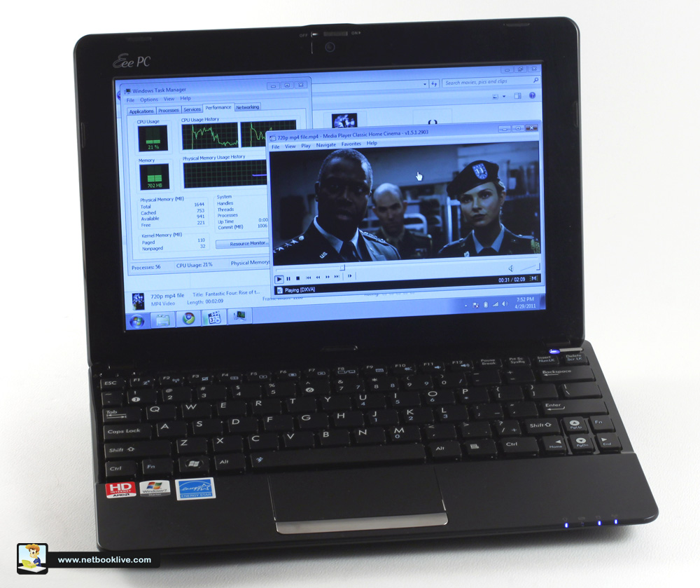 Full HD movies on a netbook: possible with the 1015B