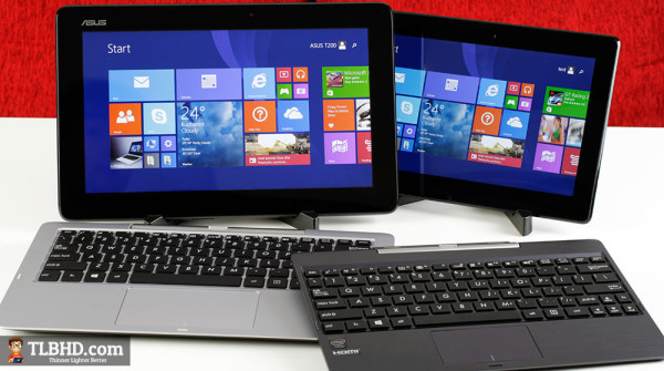 Two Asus Transformer Books compared: The 11.6 inch T200TA (left) and the 10 inch T100TAM (right)