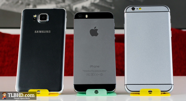 Samsung Galaxy Alpha, iPhone 5S and iPhone 6, from left to right