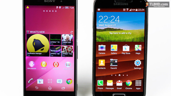 FHD panels on both of these, but an IPS panel on the Sony and an AMOLED panel on the Samsung